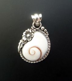 Handmade Sterling Silver and Shiva Eye Shell Pendant by fishsilver, $85.00