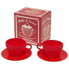 Set Of Two Red Teacup Baking Molds by LITTLE ELLA JAMES