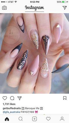 Gorgeous Nails, Love Nails, Pretty Nails, My Nails, Glam Nails, Stiletto Nails, Beauty Nails, Nail Polish Designs, Nail Art Designs