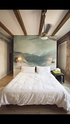 watercolor wall and wood beams Bedroom Design