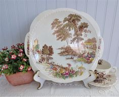 The Ferry Cake Plate Transferware Lugged Cake Plate Swinnertons Platter Polychrome Vintage Cake Plates, Cake Servings, Serving Plates, Hand Coloring, Platter, 1940s, Decorative Plates, Dining Table, Shallow