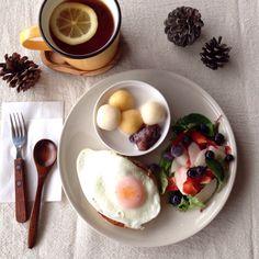 朝ごはん。breakfast. 今夜は十五夜○*.+゜かぼちゃ入り白玉団子をココナッツミルクシロップに入れて。