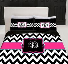 chevron linens | Custom Personalized Chevron Bedding Set - Queen size - your colors ...