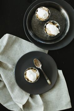 Butterscotch pudding with roasted banana whipped cream | Not Without Salt