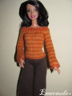 Tricot: Ensemble n°7 (pull rayé et pantalon) pour Barbie