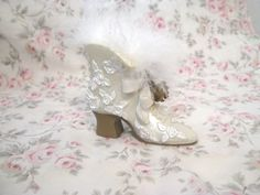 Chic Victorian Opalescent White High Heel Shoe Boot Gold Roses Lace Feathers Bows Home Decor Hanger Ornament Shabby Cottage Paris OhhLaLa by VintageChicPleasures on Etsy