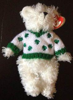 "Retired 2002 Rare TY 9"" Plush Bear in Shamrock Sweater Flannigan Attic treasures"