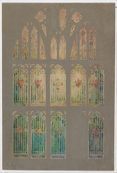 Design for window Artist: Louis Comfort Tiffany (American, New York 1848–1933 New York) Maker: Possibly Tiffany Glass Company (1885–92) Maker: Possibly Tiffany Glass and Decorating Company (American, 1892–1902) Maker: Possibly Tiffany Studios (1902–32) Date: late 19th–early 20th century Geography: Made in New York, United States Culture: American Medium: Watercolor and graphite on paper mounted on board Dimensions: Overall: 17 1/16 x 11 1/2 in.