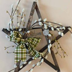 Pussy Willow Star with Weathered Wood by SnowmanCollector on Etsy, $28.00