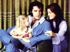 Lisa Marie, Elvis & Priscilla at their Hillcrest home in Los Angeles on December 10, 1970.