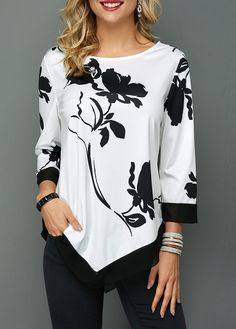 Shop three quarter sleeve Tops online,Tops with cheap wholesale price,shipping to worldwide Trendy Tops For Women, Blouses For Women, Black Fur Jacket, Kleidung Design, Dressy Tops, Blouse Designs, Shirt Blouses, Clothes, Quarter Sleeve