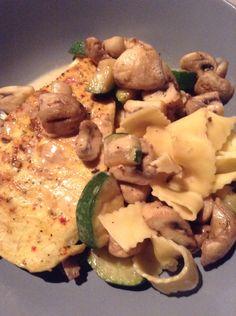 Kipfilet#courgette#champignon#pasta