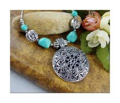 Shopo.in : Buy Tibetan Silver Turquoise Stone Necklace online at best price in Gurgaon, India