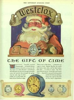 Westclox watches ad with Santa Claus from 1930. The Saturday Evening Post.