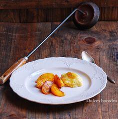 Grilled Peaches with Vanilla custard - Melocotones a la plancha con crema de vainilla