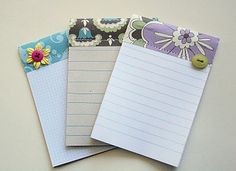 Mini Journal Notepads ... left over lined paper, scraps of patterned paper and cereal boxes (aka chipboard)