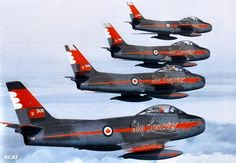"World Air Photo (@planenut27) | Twitter RCAF ""Sky Lancers"" flying F-86 Sabre"