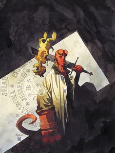 Some watercolor painted covers Mike Mignola did for the Hellboy prose novels Art And Illustration, Illustrations, Darkhorse Comics, Comic Book Artists, Comic Artist, Comic Books Art, Hellboy Tattoo, Comic Character, Character Design