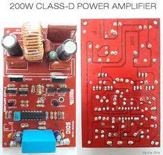 Class D Power Amplifier - Electronic Circuit Hifi Amplifier, Class D Amplifier, Electronic Circuit Projects, Arduino Projects, Electronic Art, Diy Electronics, Electronics Projects, Audio Box, Circuit Board Design