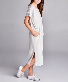 Heather Gray Side-Pocket Shift Dress. Made in the USA. $39.99.