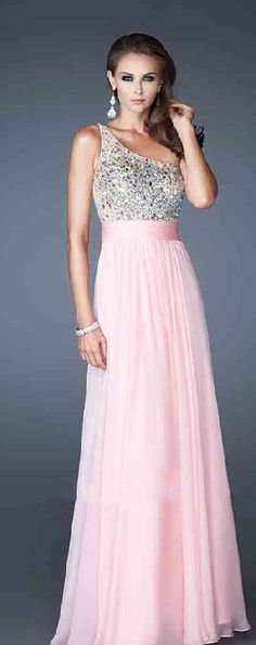 Fashion Natural One-Shoulder Chiffon Pink Sleeveless Prom Dress lkxdresses15642xdf #longdress #promdress
