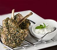 Lamb Cutlets with an Herb Crust and Yogurt Dressing with FAGE Total Greek Yogurt