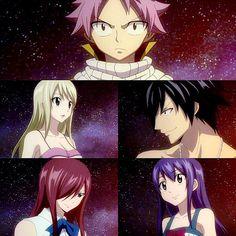 edits, erza scarlet, fairy tail, gray fullbuster, lucy heartfilia, natsu dragneel, team natsu, wendy marvell, anime