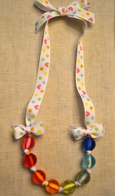 Confetti: Adorable Little Girls Necklace with Ribbon. Only $6.