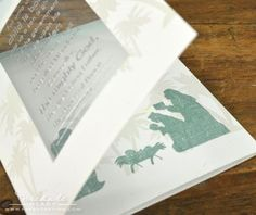 pretty embossing on clear cardstock with images on inside layer - make as a tri fold