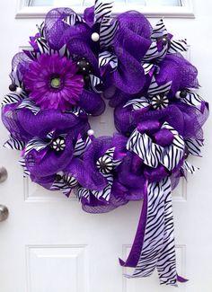 Purple, zebra, and chevron mesh wreath on Etsy, $50.00