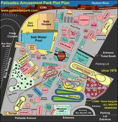 Palisades Amusement Park Map Palisades Amusement Park, Palisades Park, Sun House, House Deck, Jersey Girl, New Jersey, Cliffside Park, Sky Ride, Plot Plan