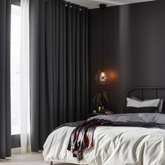 Hilleborg Blackout Curtains 1 Pair Gray regarding dimensions 2000 X 2000 Gray Bedroom Curtains - Bedroom-curtains are important to the décor and perfect Black Curtains Bedroom, Dark Curtains, Gray Bedroom, Bedroom Wall, Bedroom Blackout Curtains, Black Bedrooms, Short Curtains, Bed Room, Curtains Without Sewing