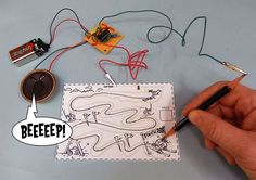 Jay Silver's 2008 Drawdio combines a simple 555 timer circuit with a pencil to make squeals, beeps, and other musical tones.