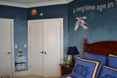 Find Some Best Little Boy Bedroom Ideas: Spectacular Blue Wall And White Doors With Starwars Themed Little Boys Room Ideas Also Wooden Headboard Along With Blue Cushions Sleeper Light On Night Table ~ enferd.com Bedroom Inspiration
