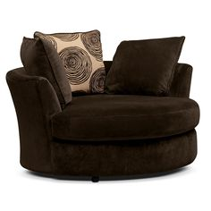 Living Room Furniture-Catalina Chocolate Swivel Chair