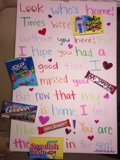 Welcome home candy poster for my boyfriend❤️