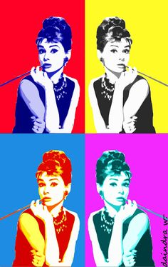 "9. Andy Warhol, represents complimentary colors in this painting of Audrey Hepburn. The effect of using complimentary colors uses the direct opposite of a certain color to create optical effects whereas one color would calm you, as the another color's purpose if to give you a rush feeling. These colors play together to keep the eye ""moving""."