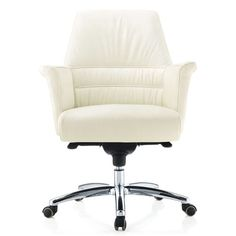 Geffen Genuine Leather Aluminum Base Low Back Executive Chair | Zuri Furniture #ZuriFurniture