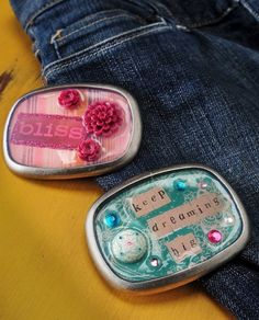 Mod Podge Dimensional Magic belt buckles