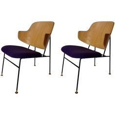 Vibrant Purple Pair of Ib-Kofoed Larsen 'Penguin' Chairs | From a unique collection of antique and modern lounge chairs at https://www.1stdibs.com/furniture/seating/lounge-chairs/