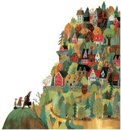 What i like about this illustration is how the characters are put in the foreground so that it seems as if they're moving towards the forest/village. In my book there is an illustration which is really similar on that part. Art And Illustration, Illustrations And Posters, Mountain Illustration, Landscape Illustration, Guache, Art Design, Art Inspo, Illustrators, Folk Art