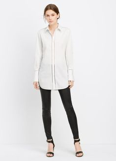 Long Sleeve Button Up With Ladder Stitch Inset