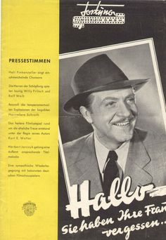 German film 1949 Hallo you forgot your wife Film Brochure Full Cast, It Cast, Forget You, Your Wife, Royal Mail, German, Cinema, Movie Posters, Ebay