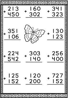 Portal Escola: Caderno com continhas de adição para trabalhar esta operação matemática... Math Addition Worksheets, First Grade Math Worksheets, 4th Grade Math Worksheets, English Worksheets For Kids, Printable Math Worksheets, Preschool Worksheets, Math Sheets, Math School, Homeschool Math
