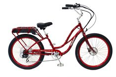 "PEDEGO 24"" ELECTRIC CRUISER IIi BICYCLE BIKE-36V/10AH BATTERY&500W MOTOR-RED/BLK #PEDEGO"