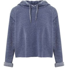 Miss Selfridge Blue Cropped Hooded Sweatshirt ($49) ❤ liked on Polyvore featuring tops, hoodies, sweatshirts, jackets, indigo, long sleeve sweatshirts, cropped hoodie sweatshirt, blue hoodie, blue crop top and cropped hooded sweatshirt