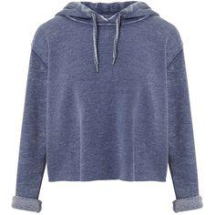 Miss Selfridge Blue Cropped Hooded Sweatshirt found on Polyvore featuring tops, hoodies, sweatshirts, jackets, indigo, long sleeve hoodie, blue hoodie, sweatshirt hoodies, hoodie crop top and blue hoodies