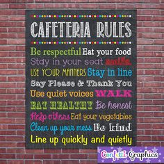 Cafeteria Lunchroom Rules Expectations Sign Poster School Teacher Classroom Chalkboard Chalk Subway Wall Art Gift // 16x20 Instant Download