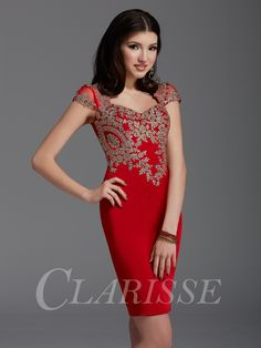 38fcbb1fd37 Red tight bodycon modest cocktail homecoming dress for 2016 with cap  sleeves and beautiful vintage gold