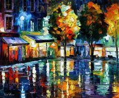 Afremov NIGHT SHOPS Original A by Leonidafremov